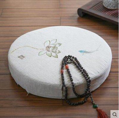 【優上】Nobildonna 亞麻刺繡禪修墊蒲團墊子榻榻米椅墊坐墊「淡綠蓮花款」