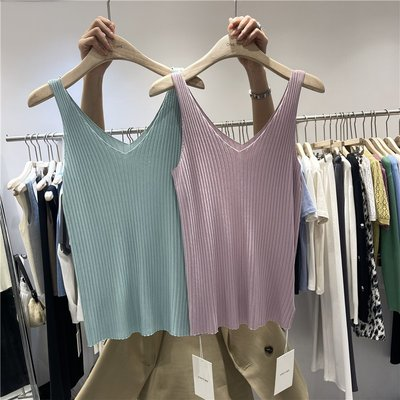 cozyday~One Time夏季新款V領冰絲針織小吊帶背心女修身百搭外穿內搭上衣
