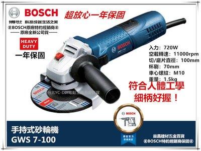 台北益昌 送原廠雙網砂輪片一片 德國 BOSCH GWS 7-100 手持式砂輪機 不可調速