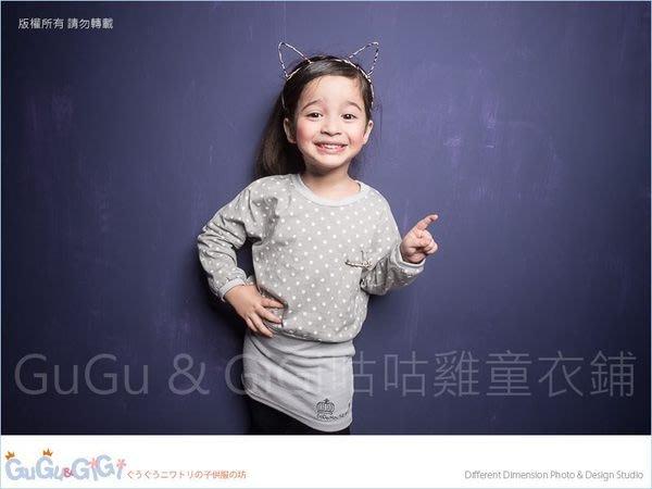 【RG3100206】秋冬款~鑽石皇冠別針點點寬版灰色洋裝(中大童)$99