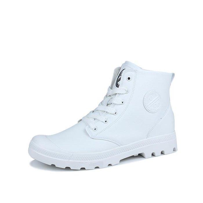 【瘋狂夏折扣】馬丁靴 白色馬丁靴男中筒夏季英倫高筒鞋潮男青年厚底男靴秋季皮靴圓頭