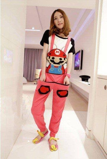 ☆Candy Box☆2015春秋新款韓版糖果色可愛超级瑪莉背帶褲 玫紅 Z2611751