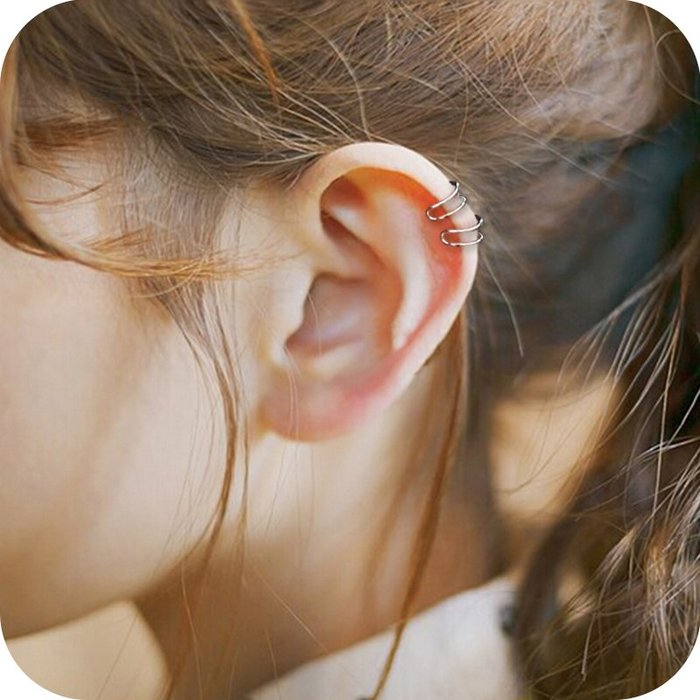 夾式 耳環 正韓韓國氣質潮人極簡雙線素圈簡約小耳夾百搭無耳洞耳釘女耳環耳骨夾