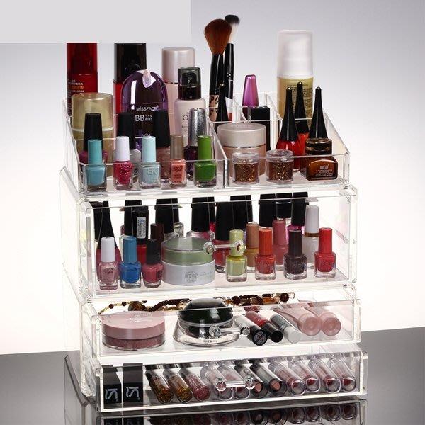 5Cgo【鴿樓】會員有優惠 41863522793 特大號化妝品桌面收納盒 透明塑料盒 護膚品整理盒首飾盒儲物盒 三件套