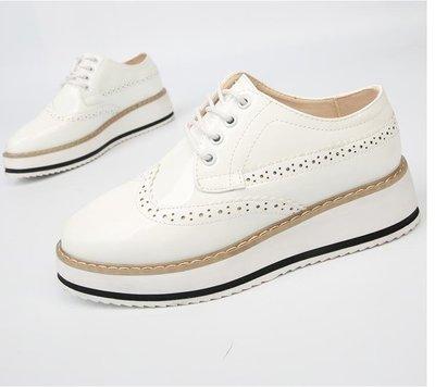 外貿女鞋繫帶布洛克女鞋百搭厚底鬆糕英倫風學生休閒鞋SUN