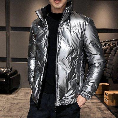 冬季保暖抗寒羽絨服2020新款男士亮面棉衣亮面羽絨服壓膠棉服爆款夾克銀色外套羽絨服