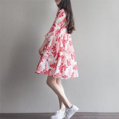 森女系棉麻連衣裙夏季新款文藝印花中長款寬鬆七分袖襯衫裙兩件套