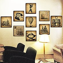 咖啡廳裝飾畫創意畫網咖懷舊木版畫西餐廳複古掛畫酒吧個性壁畫(9款可選)