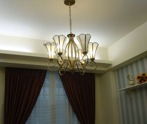 歐式吊燈 鄉村風 銅燈 六燈 客廳燈 臥室燈