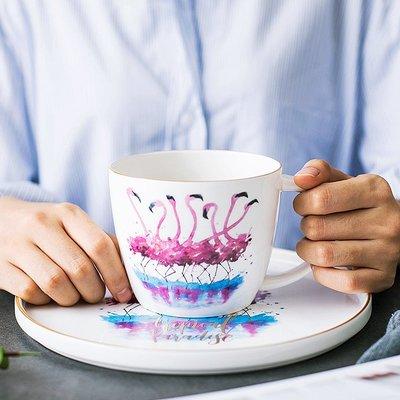 那些時光 火烈鳥金邊馬克杯骨瓷陶瓷麥片杯早餐杯創意ins 大容量