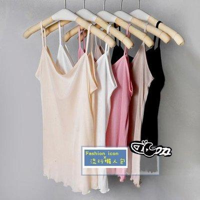 夏季真絲針織質感純色細肩帶打底背心  微捲邊下擺 黑/ 白/ 粉紅/ 駝色/ 膚 2件免運!