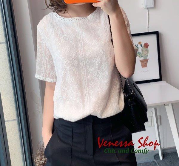 歐美品牌 2019初春新款 簡約漂亮 重工刺繡緹花 蕾絲領口包邊 高質感微寬鬆真絲棉短袖上衣 (T929)