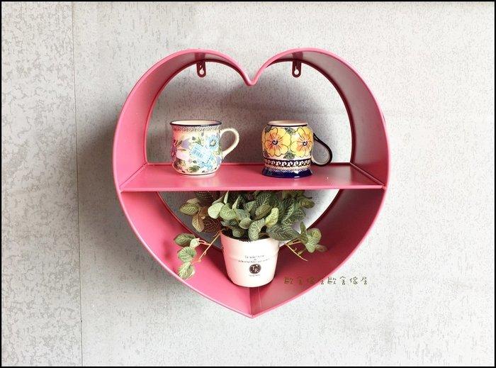 鐵製粉紅色愛心雙層壁架(小)  鐵藝兩層造型可愛風牆壁掛架 收納架公仔玩偶吊架花架展示架置物架層板架杯架【歐舍傢居】